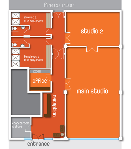 Bikram Yoga Athlone Studio Floor Plan
